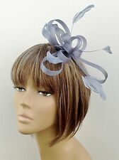 Grey Coiled Feather Fascinator Weddings, Bridesmaids, Ladies Hen Nights Partys