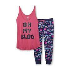 Joe Boxer Juniors Pajama Set Tank Top Oh My Blog and Printed Capri size S NEW