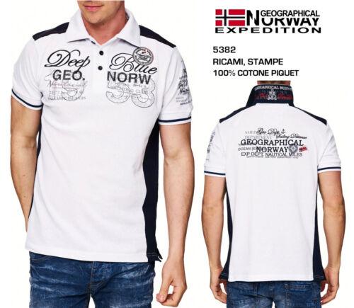 Polo Uomo a Maniche Corte con Ricami Stampe T-Shirt Maglia Geographical Norway