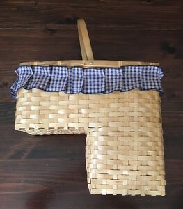 Image Is Loading Vintage WOOD WICKER STAIR STEP BASKET 1 Handle
