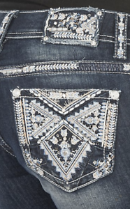 Grace In LA Jeans Mid Rise Easy Bootcut Embellished 26 27 28 29 30 31 32 33 34