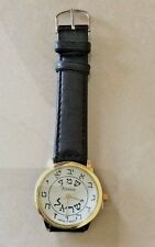 MEN'S HEBREW WATCH EASY TO READ NUMBERED WHITE DIAL ON BLACK LEATHER BAND NICE!