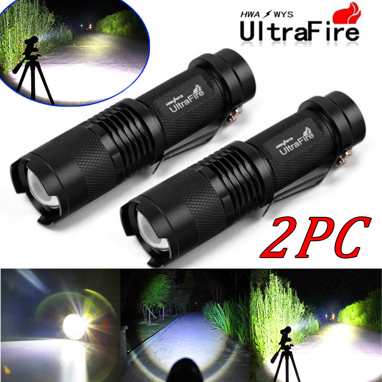 2PCS Ultrafire 8000Lumen CREE XM-L T6 LED Flashlight Torch Super Bright Light UP
