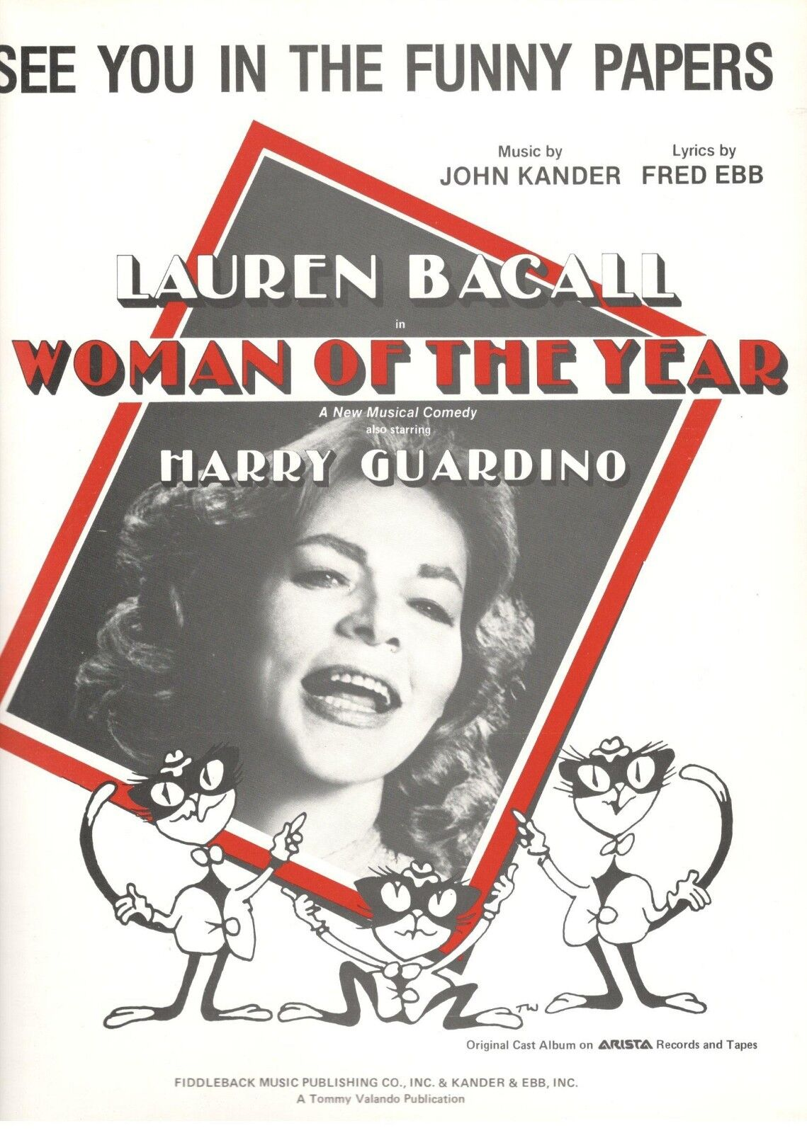 SEE YOU IN THE FUNNY PAPERS  SHEET MUSIC-WOMAN OF THE YEAR-LAUREN BACALL-NEW