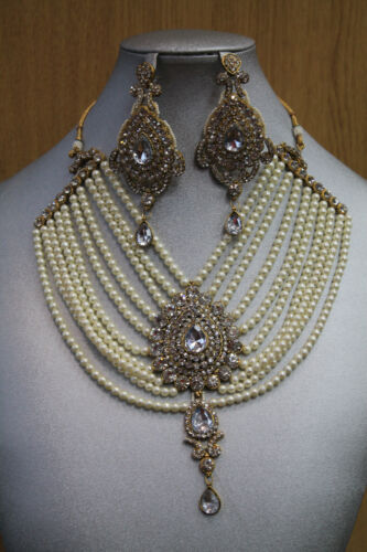 New Shiny Diamante Pearls Necklace Earrings Bridal Prom Party Costume Jewellery