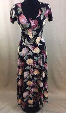Nostalgia Womens Medium Vtg Long Floral Lace Boho Short Sleeve 90s Grunge Dress