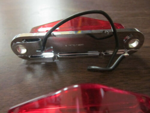 ~ 4 ~ RED MINI 45-DEGREE RAIL CURVED ACCESSORY LIGHT CHROME BASE 12 VOLT 1-WIRE