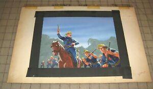 TEDDY-ROOSEVELT-US-Calvary-Charge-Gouache-Illustration-Art-San-Juan-Hill