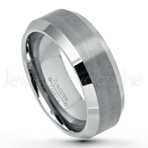 Details about  /8mm Beveled Edge Tungsten Ring Comfort Fit Mens Tungsten Carbide Wedding Band