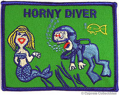 Horny Diver Buceo Parche-Mordaza Regalo Sirena Humor Bordados termoadhesivos De Buceo