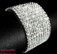 Silver Tone Crystal Clear Diamonte / Diamante 10 Row Stretchy Bracelet - NEW!!
