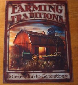 Beautiful-FARMING-TRADITIONS-SIGN-Red-Barn-Tractor-amp-Wagon-Farm-Decor-Sign-NEW