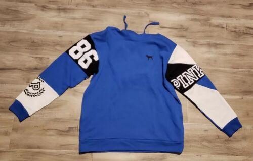 Victoria Secret PINK campus Hoodie Large blue//black NEW AUTHENTIC!!!!