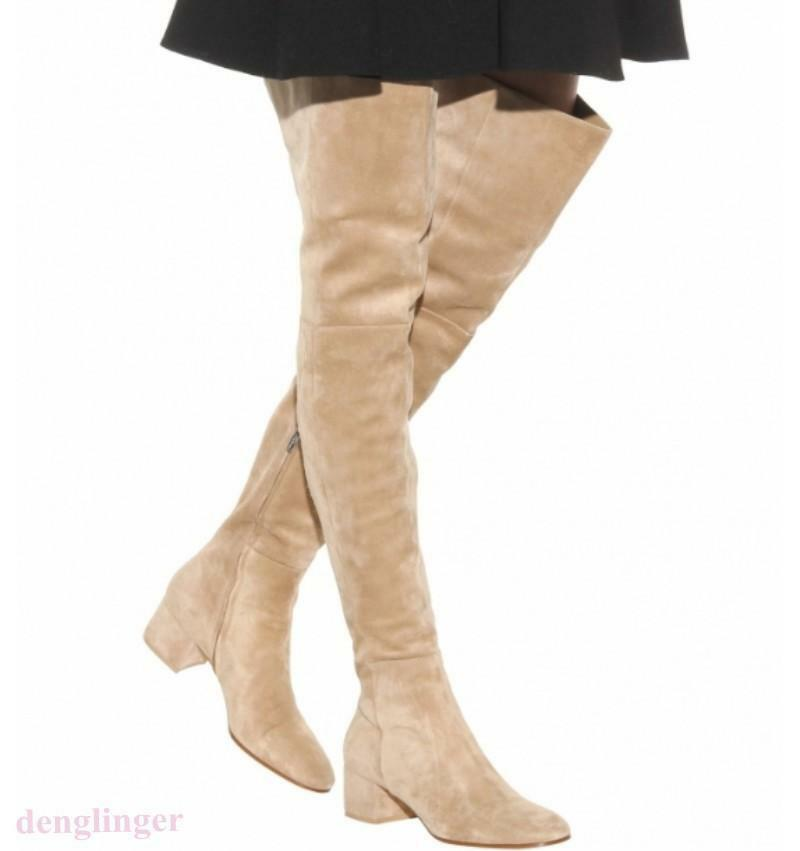 Sexy Women Low Heel Faux Suede Thigh High Boots Over Knee shoes Plus size US new