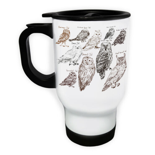 Collection Of Owls With Names  White//Steel Travel 14oz Mug gg539t