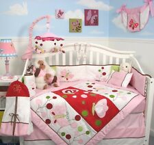 PINK CRIB BEDDING SET BUTTERFLY BABY Infant Baby Girl Nursery 13 Piece Quilt+