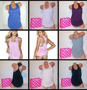 Victoria-Secret-PINK-Dog-Tank-Top-Tee-Twist-Racerback-Shirt-Dog-Logo-Sleepwear