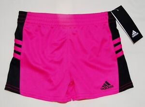 1ef250d378a3 NWT adidas Little Girls Hot Pink with Black 3 Stripe Mesh Sport ...