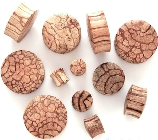 PAIR OF BUN ABRASK WOOD ORGANIC HAND CARVED EAR STRETCHER PLUGS 3-30mm
