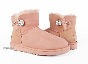 Image is loading UGG-Mini-Bailey-Button-Bling-Pink-Dusk-Suede-