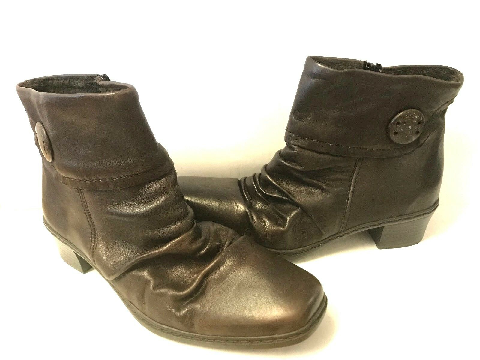 Rieker Kendra Ladies Womens Slip On Zip Up Brown Scrunched Leather Heeled Boots