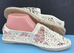 NEW-Slip-On-IVORY-White-Lace-Espadrille-Loafer-Flat-SHOE-Size-9-Reresh-PALACE