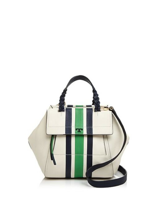 fe0de02903576 Tory Burch Half Moon Stripe Small Satchel Leather Bag in Ivory Green ...
