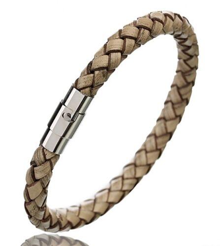 Echt Leder Armband geflochten Magnetverschluss Edelstahl Herren Damen 5 Farben