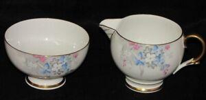 Vintage-Paragon-England-Woodland-Bluebell-Porcelain-Cream-amp-Sugar-Set