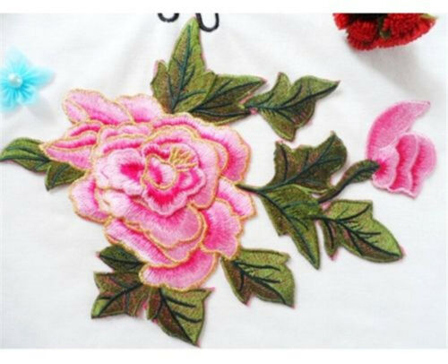 FD3773 Delicate Embroidered Big Pink Rose Peony DIY Collar Dress Patch 23x18cm ☆