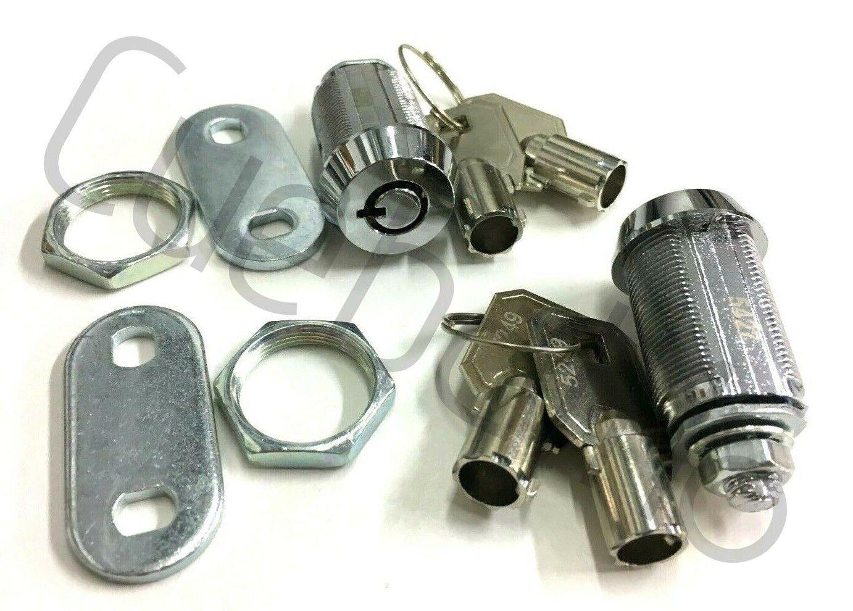 2 x HIGH SECURITY BARREL ROUND KEY LOCKS For FRUIT / QUIZ MACHINES & POOL TABLES