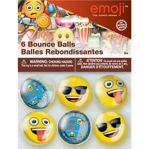 Image Is Loading EMOJI BOUNCE BALLS 6 Birthday Party Supplies Favors