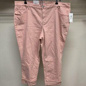 Style-amp-Co-Womens-Plus-Size-18W-Stretch-Peach-Mid-Rise-Capri-Cropped-Cuffed