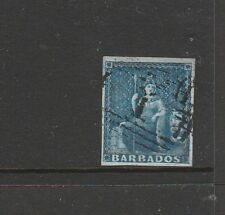 Barbados 1852/5 1d Blue, paper blued, Lightly Used 4 margins, SG 3/4