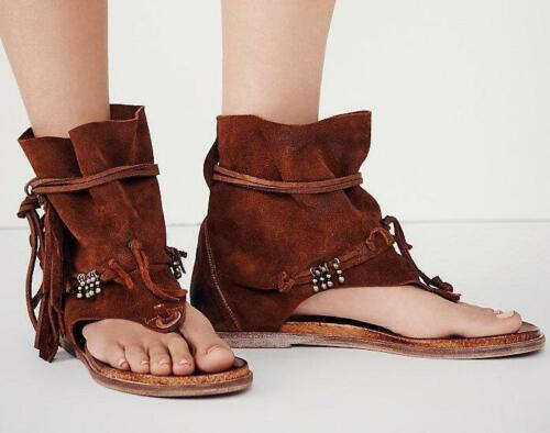 Women High Top Suede Leather Sandal Boots Lace Up Flip Flops Thong Bohemia Shoes
