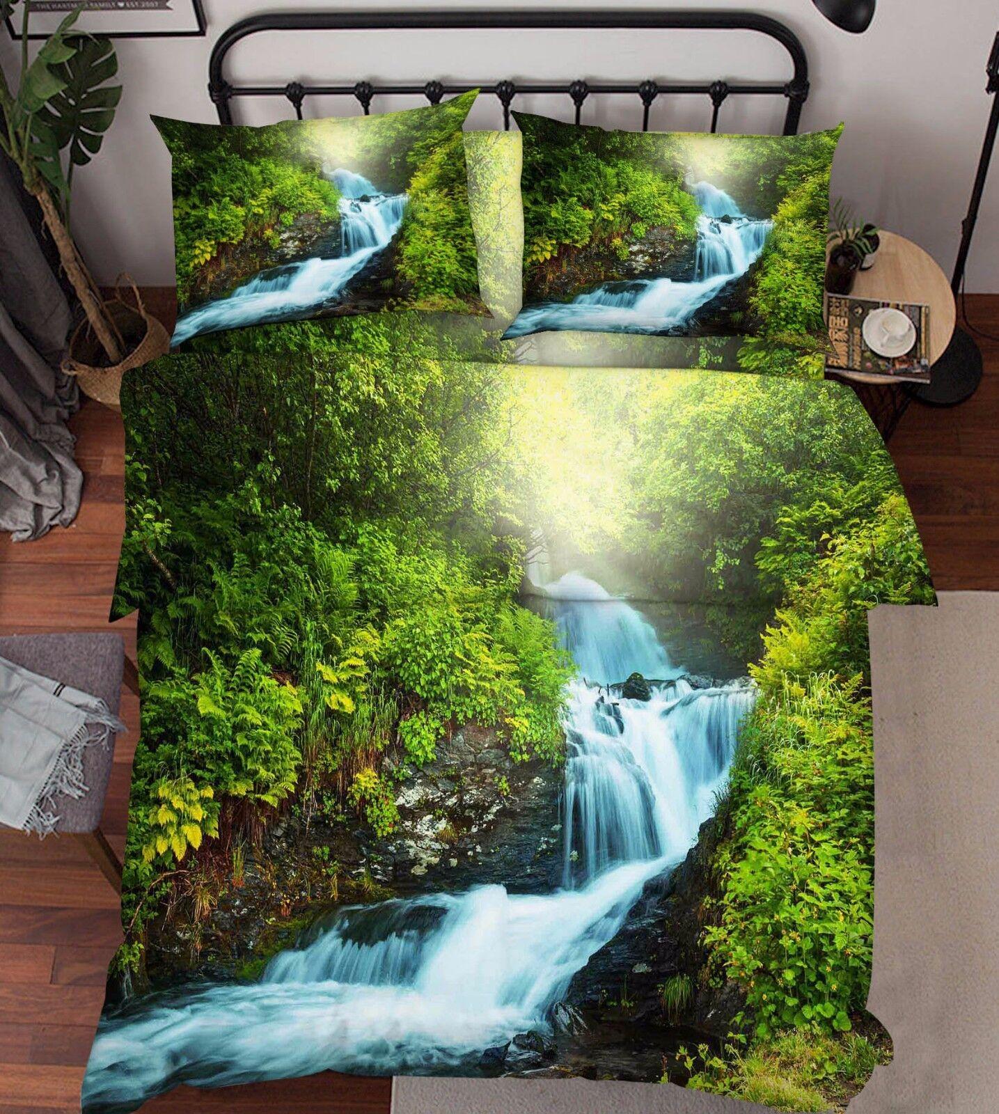3D Jungle blu Stream 8 Bed Pillowcases Quilt Duvet Cover Set Single Queen AU