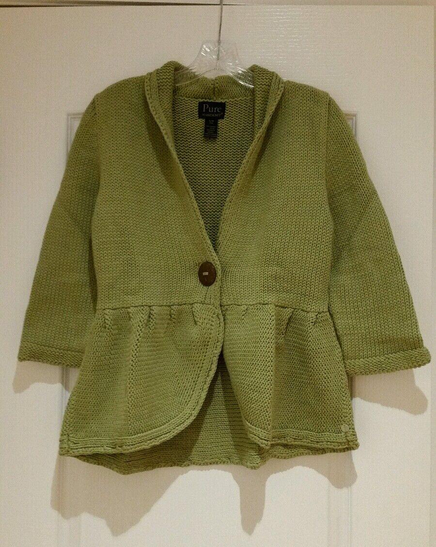 PURE HANDKNIT Light Green Cardigan Small Medium NWOT