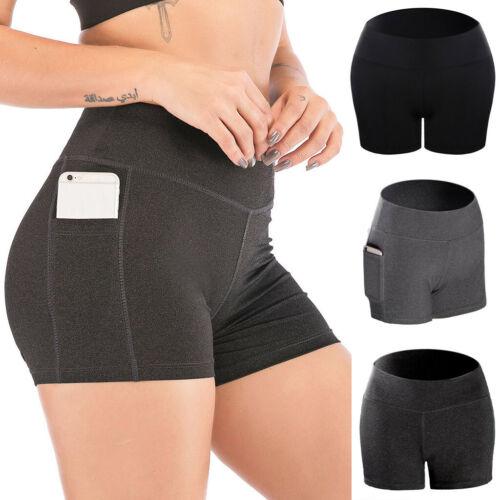 Women Stretch Yoga Pants Side Cell Phone Pockets Sports Shorts Leggings Pants US