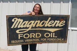 """Large Vintage Ford Magnolene Motor Oil Service Gas Station 48"""" Metal Sign"""