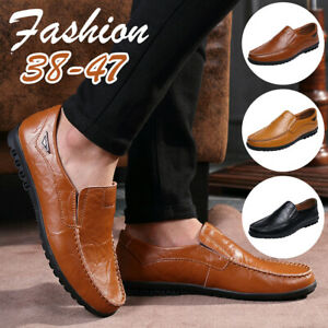 Men-039-s-Casual-Leather-Slip-On-Driving-Moccasins-Loafers-Business-Flat-Boat-Shoes