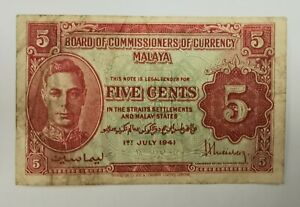 Malaya 1941 King G. VI 5 Cent note with variaty b.