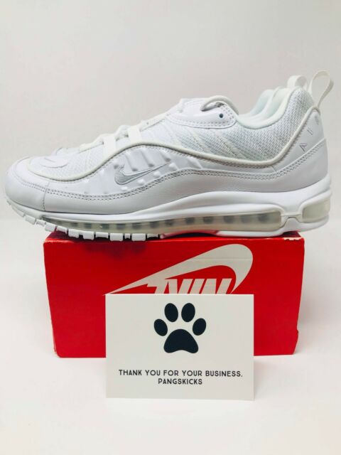 Details about Nike Air Max 98 Triple White White Pure Platinum Black SZ 11.5 [640744 106]