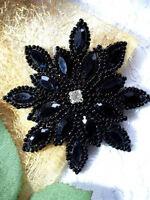 Xr32 Applique Black Beaded Snowflake Star Rhinestone Center 3