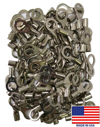 """100 Pcs High Temperature Non-Insulated 8 Gauge AWG 3//8/"""" Stud Wire Ring Terminal"""