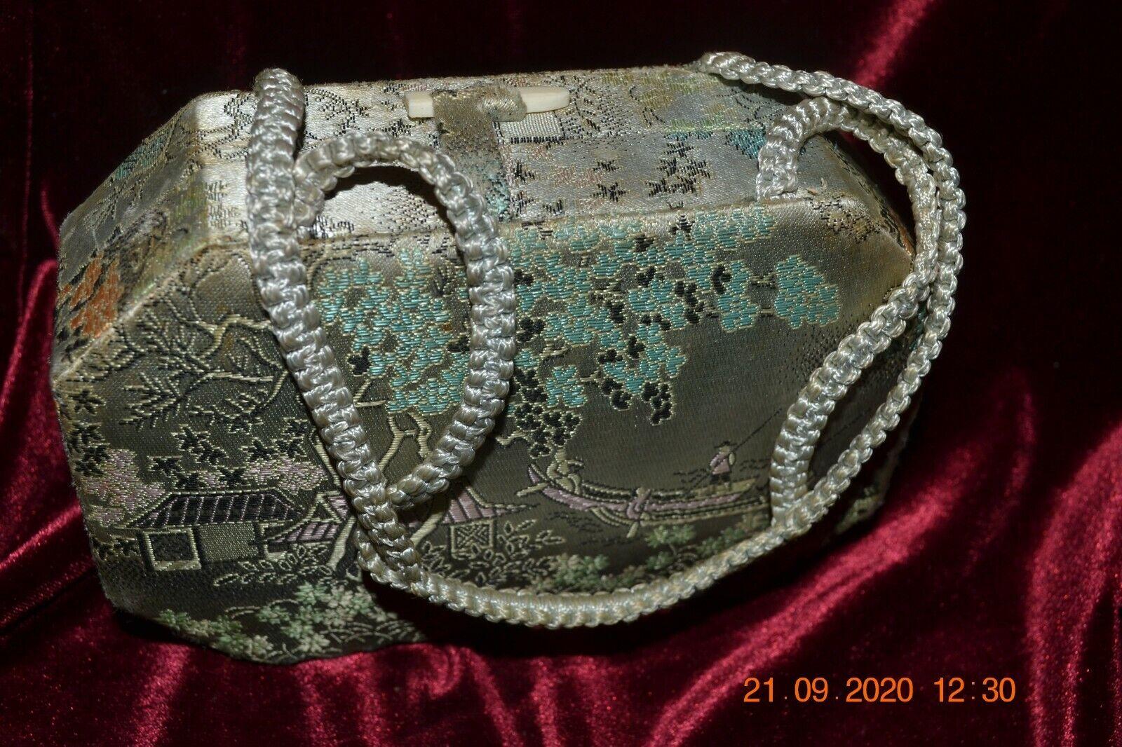 Vintage Oriental Silk Box Purse made in Hong Kong… - image 2