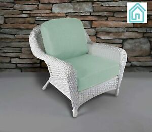 Outdoor Chair White Resin Wicker Patio Furniture With Spearmint