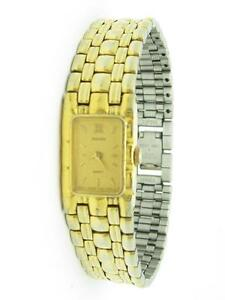 Pre-Owned Ladies Pulsar Rectangular Gold Tone Watch With New Battery Gift