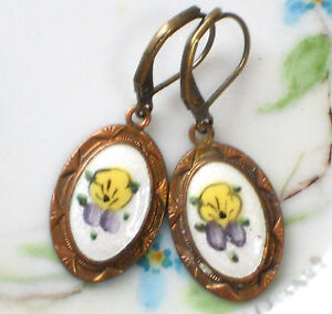 #1419C Vintage Pansy Earrings Guilloche Enamel Floral Flower Dangle Emmons