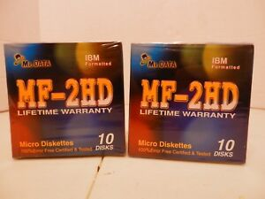 Lot-Of-2-Packs-MF-2HD-Micro-Diskettes-IBM-Formatted-Total-Of-20-Diskettes-Sealed