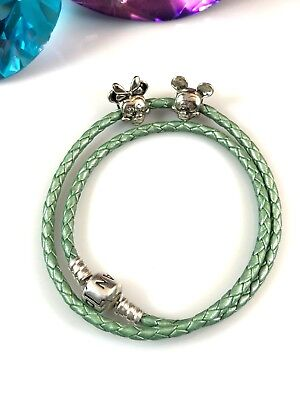 PANDORA GREEN BRAIDED DOUBLE-LEATHER STERLING MICKEY MINNIE MOUSE CHARM  BRACELET | eBay